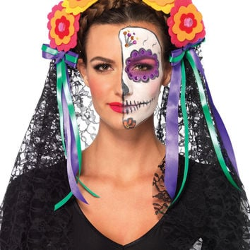 Day Of The Dead Flower Headband Costume (One Size,Multicolor)