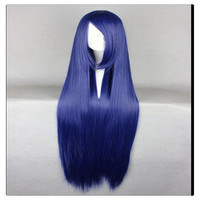 "Women Fashion 100CM/39"" Long straight Cosplay Fashion Wig heat resistant resistant Hair Full Wigs  Blue"