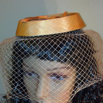 Fascinator in Pale Mango with Veil Gold Pillbox Hat for Church, Tea Party, Summer Hat, Spring Hat