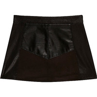 Mini girls block leather-look skirt