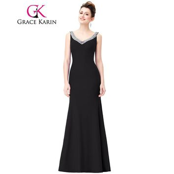 Grace Karin Black Evening Dresses V Neck Sequin Backless Wedding Party Dresses Long Formal Gowns Sexy Slit Back Robe De Soiree
