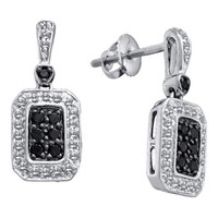 Black Diamond Fashion Earrings in 14k White Gold 0.5 ctw