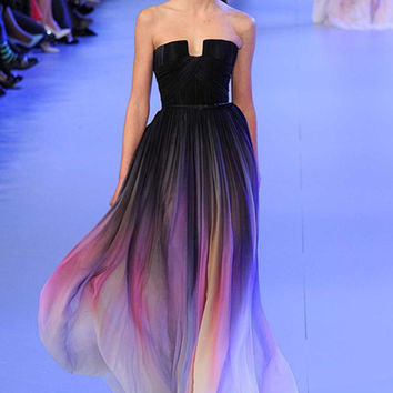 New Gradient Colorful Sexy Dresses Ombre Chiffon Prom Dress Evening Dress Strapless with Pleats Women Dress