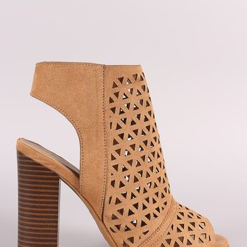 Bamboo Perforated Caged Chunky Heel Booties