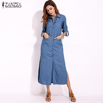 ZANZEA Women Vintage Denim Blue Turn-down Collar Buttons Down Casual Split Long  Shirt Dress 958beaddae23