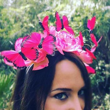 Plush Pink - Butterfly Fascinator