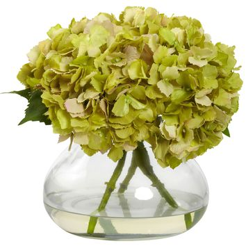 Artificial Flowers -Large Green Blooming Hydrangea With Vase Artificial Plant