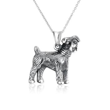 Terrier Puppy Pet Bone Dog Necklace BFF 925 Sterling Silver Necklace