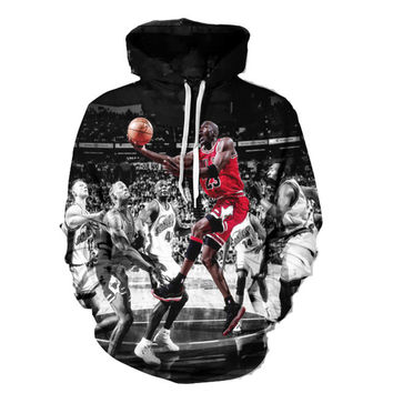 Michael Jordan Tribute Hooded Sweatshirt Black & White Famous Chicago Bulls Jordan 23 Dunk Hoodie