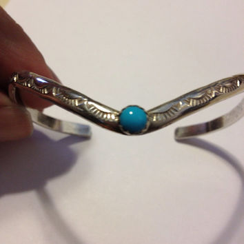 Navajo Turquoise Sterling Cuff Bracelet Silver DCG Signed 925 Vintage Tribal Southwestern Native American Indian Jewelry Etched Engraved