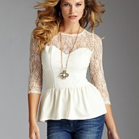Lace-Mix Peplum Top | GUESS.com