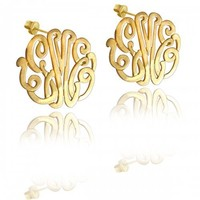 "Designer Personalized Handmade Monogram Earrings 1"" Gold Filled"