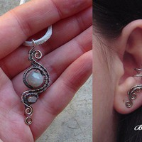 Wirewrapped ear cuff and pendant set by bodaszilvia on Etsy