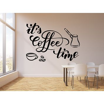 Vinyl Wall Decal Coffee Time Words Cup Coffee Bean Cafe Break Room Stickers Mural (g1375)