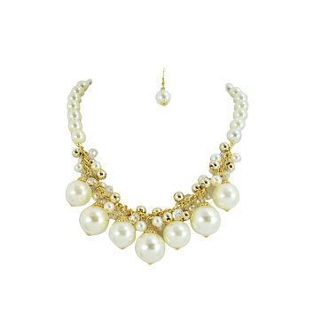 Chunky Faux Pearl with Glass beads Cluster Bib Necklace
