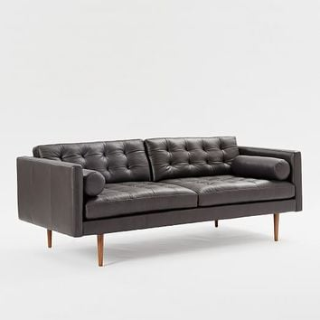 Monroe Mid-Century Leather Sofa