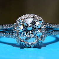 Platinum Diamond Engagement Ring - Split shank Round - 1.60 carats - Antique Style - Pave - weddings - brides - Bp003
