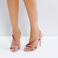 Public Desire Seek Blush Velvet Strappy Heeled Sandals at asos.com