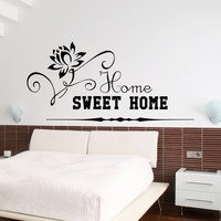 Wall Decal Quotes Home Sweet Home Lotus Yoga Flower Design Vinyl Decals Living Room Bedroom Hotel Hostel Window Stickers Home Decor 3761
