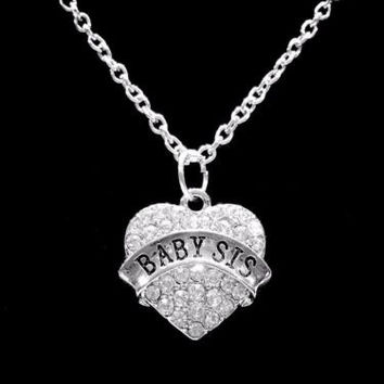 Crystal Baby Sis Heart Gift Little Sister Charm Necklace