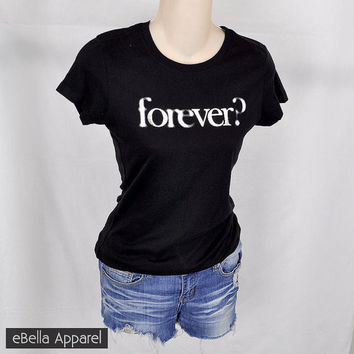 Forever - Women's Basic Black Short Sleeve, Graphic Foil Print Tee
