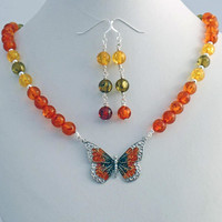 Butterfly Amber Necklace Earrings Set