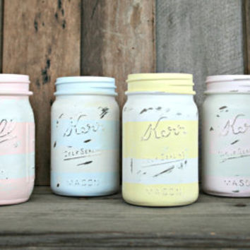 Home and Wedding Decor - Painted Pastel Striped, Distressed Mason Jar, Vase or Organization