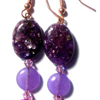 "Women's  Earrings: ""I Am Whole"" Purple Labradorite, Purple Jade and Purple Fresh Water Pearl, Purple Swarovski Crystals"