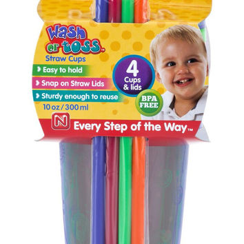 10 oz Wash or Toss™ Cups with Straw and Lid 4-Pack