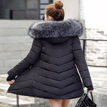 Winter Jacket Women 2017 Fashion Thickening Warm Winter Down Jacket Women Parka Long Coat Slim Hooded coatArtificial fox fur