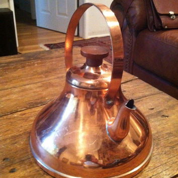Copper Handcrafted Tea Pot Made In Portugal Solid Copper Wooden Knob New