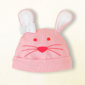 Bunny Rabbit Knit Hat for Infants - Pink with White Ears - Easter (0-6 months (up to 7 lbs))