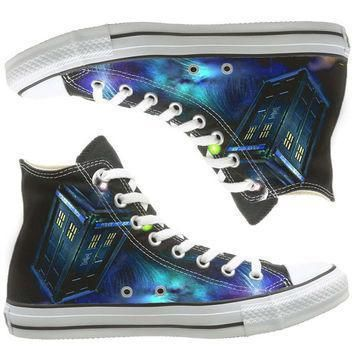 galaxy converse dr who painted shoes custom shoes by natalshoes