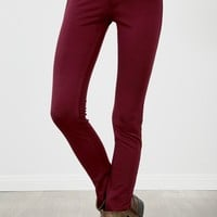 Burgundy Ponte Stretchy Skinny Pants |  MakeMeChic.com