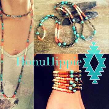 Boho Hippie Wrap necklace / bracelet, native american inspired Hmasa pendant