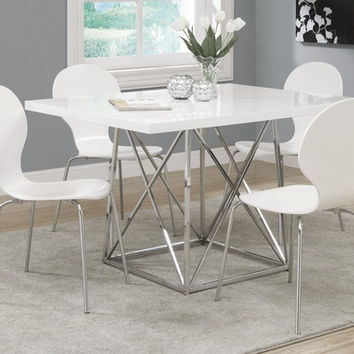 "White Glossy / Chrome Metal 36""X 48"" Dining Table"