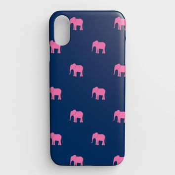 Elephant Cell Phone Case iPhone XS Max - Pink on Navy