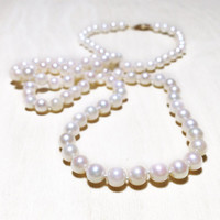 """Hand Strung 23"""" Pearl Necklace with 14k Yellow Gold Clasp - Wedding Jewelry - Mother of the Bride Gift"""
