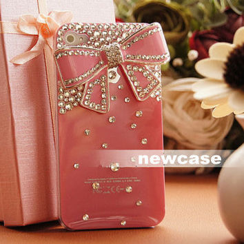 studded swarovski crystals iPhone Case Pink bow deco by newcase