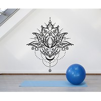 Vinyl Wall Decal Meditation Yoga Spa Center Lotus Flower Symbol Stickers Mural (g1248)