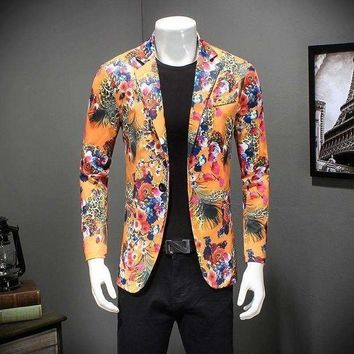 ICIKON3 floral blazer men jacket slim fit luxury print singer performence costume one button casual suit jacket