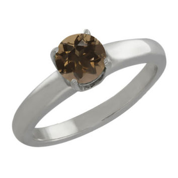 0.46 Ct Round Brown Smoky Quartz 925 Silver Ring