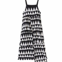 Autumn extended holiday black and white geometric layered decorative strap dress