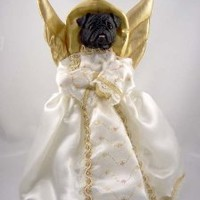 Black Pug Angel Christmas Tree Topper