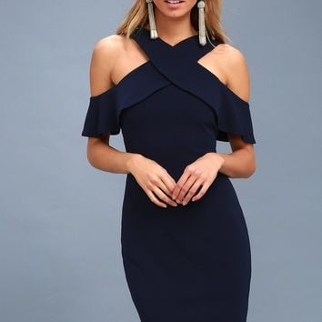 Cityscape Navy Blue Off-the-Shoulder Bodycon Dress