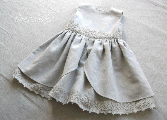 Light grey Linen baby girl sleeveless from Dresshines on Etsy