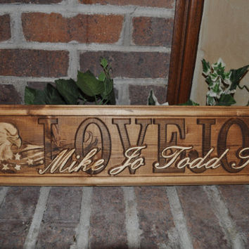 Personalized Family Name Sign CARVED Custom Wood Military Eagle