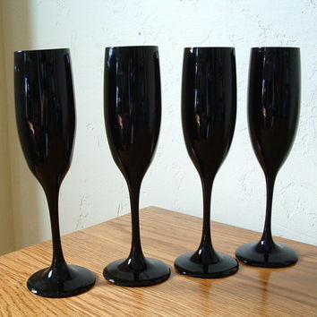 Vintage Black Amethyst Champagne Flutes Wine Glasses Black Stem Set of 4