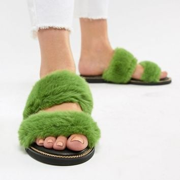 River Island Double Strap Faux Fur Sliders at asos.com