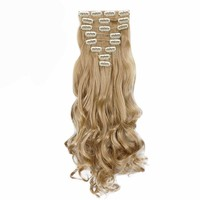 24inch 170g Long Curly 18 Clips in  Synthetic Hair Extensions  8pcs/set
